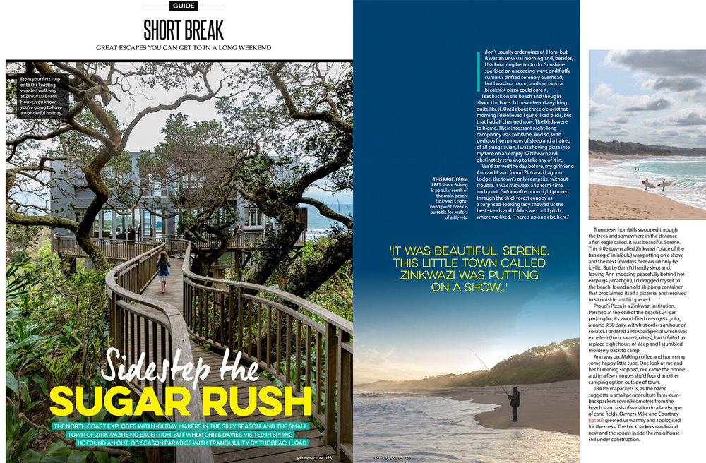 Getaway Magazine - December 2016A guide to Zinkwazi - beach-holiday paradise on South Africa's North Coast.