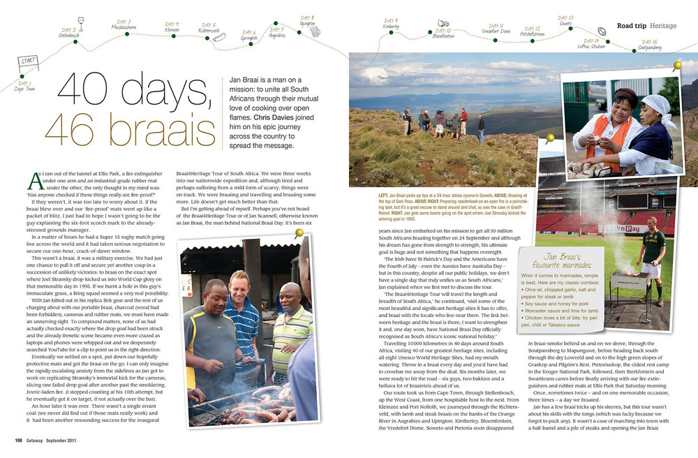 Getaway Magazine - September 2011On the road for National Braai Day - 40 days around South Africa with Jan Braai.