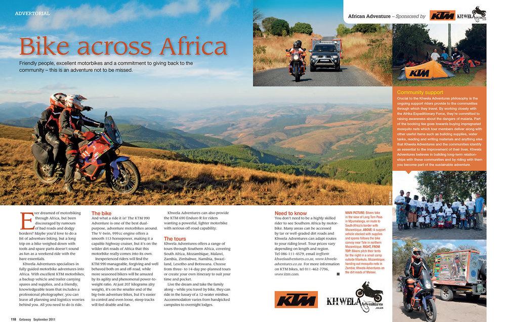 Getaway Magazine - Riding KTM's 990 Adventure motorcycles with motorbike tour operator Kwela Adventures.