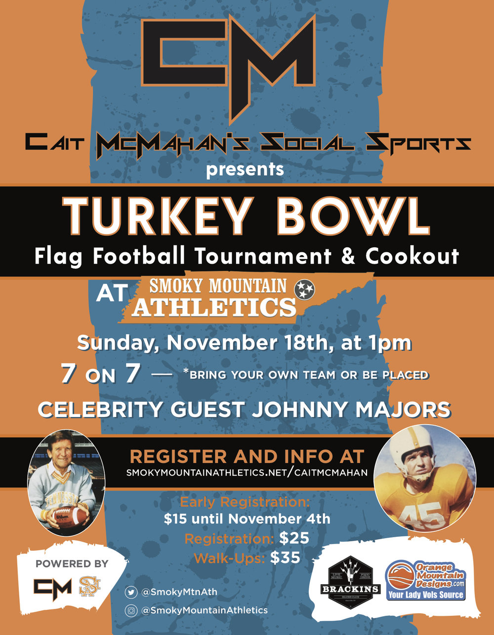 Social Sports: Turkey Bowl Flag Football Tournament & Cookout - -turkey Bowl Flag Football Tournament & Cookout-Tournament will be held at Smoky MOuntain Athletics on sunday November 18th at 1:00pm-tournament format is 7-on-7-Participants can either bring a team or you can show up as an individual and be placed on a team-Tournament will feature a cookout with food for sale Smoky mountain athletics.-All members of a team must complete registration individually (Fill in team name where applicable)$15 per person early registration discount until november 4th$25 per person registration fee between november 4th - november 17th$35 per person registration fee for walk-ups the day of the tournament-If you have any questions please feel free to email us at smokymtnath@gmail.com** All online Payments will have a 4% fee added to them
