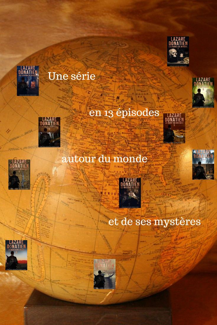 Fond d'écran animé sur les aventures de Lazare et son visuel par pays visités.