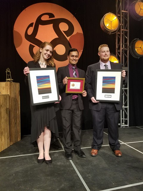SAIT President's Award Winners! L-R: Abigail Watt for SAIT GNCTR, Akhil Sharma, Jake Coulter (SAS)