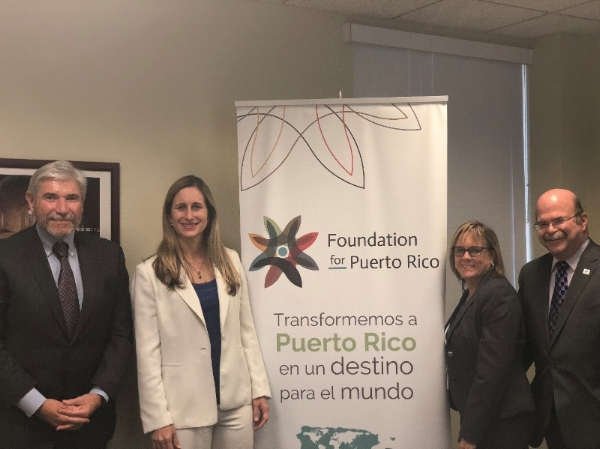 From left: Jacob Solomon, CEO and President Greater Miami Jewish Federation, FPR President & COO Annie Mayol, Chief Planning Officer at Greater Miami Jewish Federation Michelle Langdon, JFNA Regional Director Ed Finkel at the Greater Miami Jewish Federation offices.