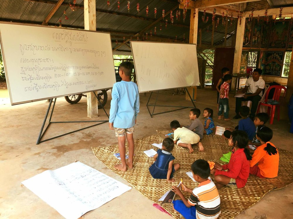 One of our two volunteer teachers, Mr. Nimol Hang, teaching a beginner level English class.