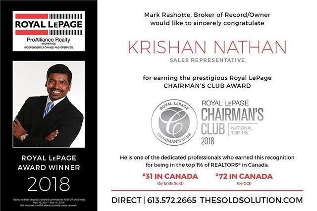 We are pleased to share with our clients, friends and family that we made the National Chairman's club, once again! Thank you so much to all of our clients! #ygk #realestate #chairmansclub #royallepage #kingston