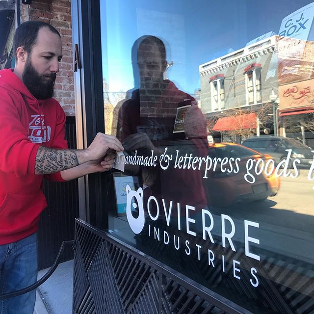 Shoutout to my hubs at @ovierreindustries for the window vinyl at the shop! Swing in if you need a new sign or vinyl for your biz, or some custom work done, Salida folk, and I'll put you in touch with him. // #coloradobusiness #coloradosmallbusiness