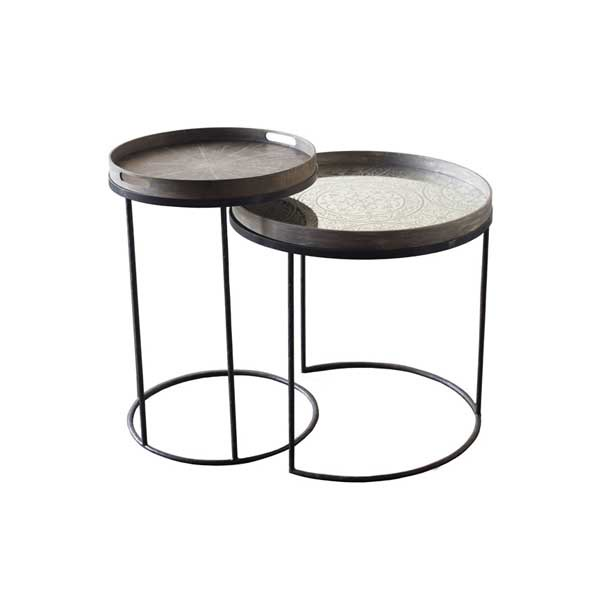 Small high table - £169 Large low table - £189 - Trays not includedLarge - 62 x H: 57cmSmall - 49 x H: 66cm