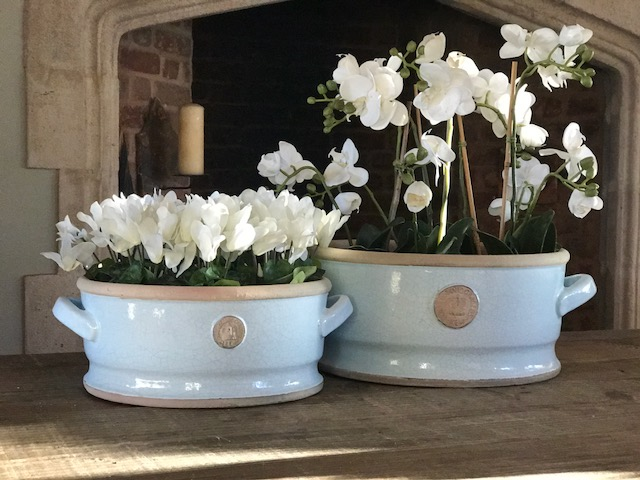 Low bowls with handles - Ivory, Grape Green & Duck egg  Small H:13 x W: 30cm - £45  Large H: 16.5 x W: 34.5cm - £65