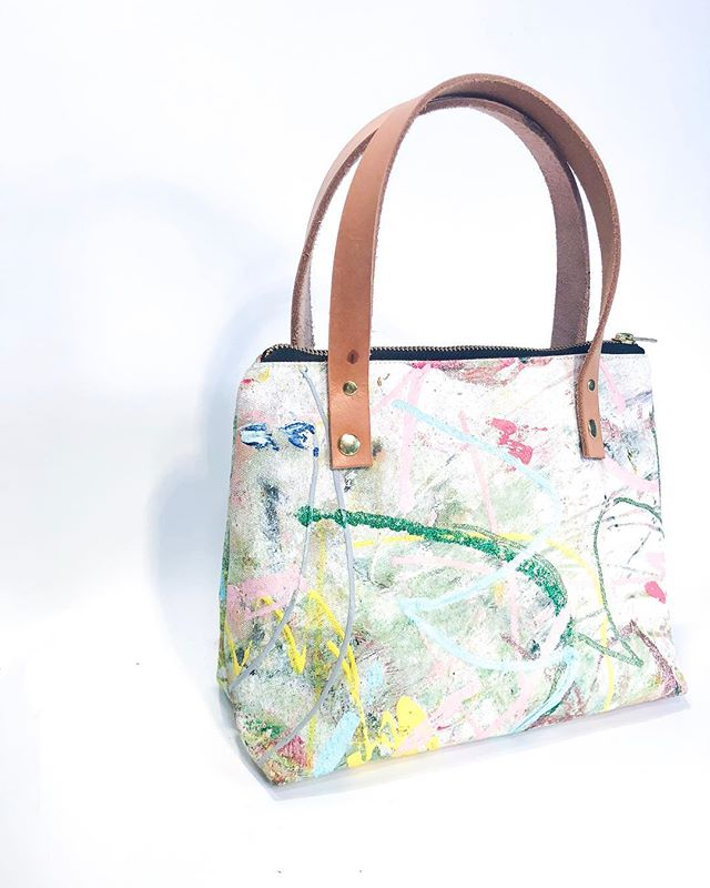 """💖🎨👜 Something special made with love , you can't miss it and it carries everything. Trust your belongings in something as unique as you are. ✨👜@beausejour.co ❄️🦋❄️🦋❄️🦋 22/50 Mini Tote  14 oz canvas  Oil & Acrylic Paint  Satin liner in ballet slipper pink  Yoshida Kōgyō Kabushiki Zipper  Genuine Leather Straps  Measures 8 * 3 * 9"""" Approx"""