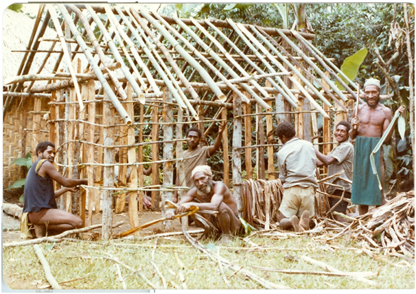 Owa, Sirku and boys building our house (1981)