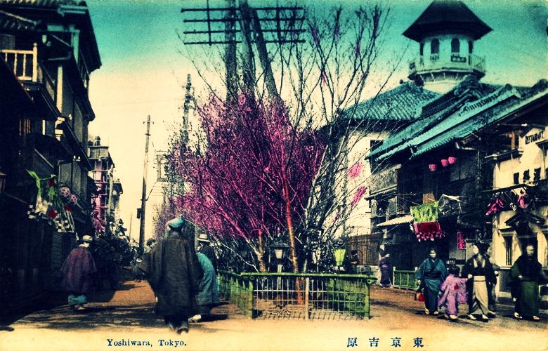 Tokyo's Yoshiwara pleasure quarter, antique postcard