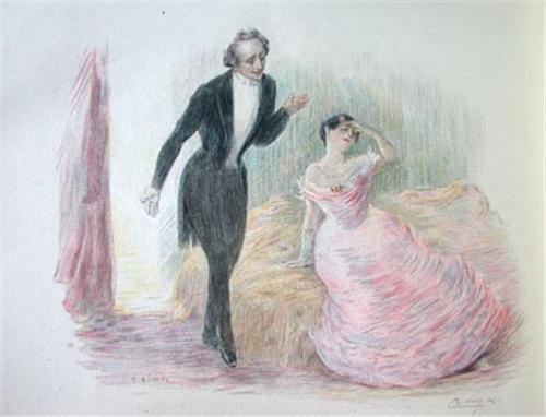 Illustration by Charles Léandre for Paris edition of  Madame Bovary  dated 1874