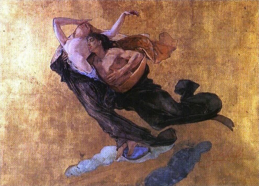 Paolo e Francesca  by Mosè Bianchi, 1877.
