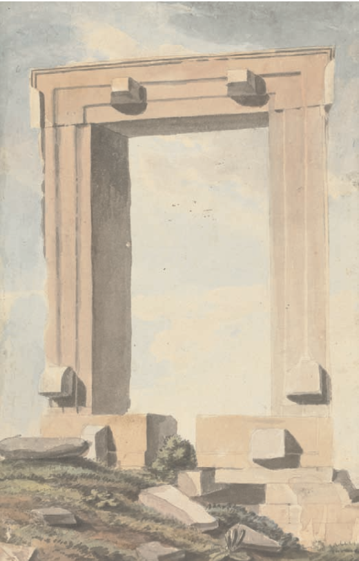 "Willey Reveley, ""View of the Door Case, or Gateway of the Temple of Bacchus upon a small Island or rock adjoining to the town of Naxos drawn July 1785 , pen and ink and watercolour, Yale Center for British Art,  Paul Mellon Collection"