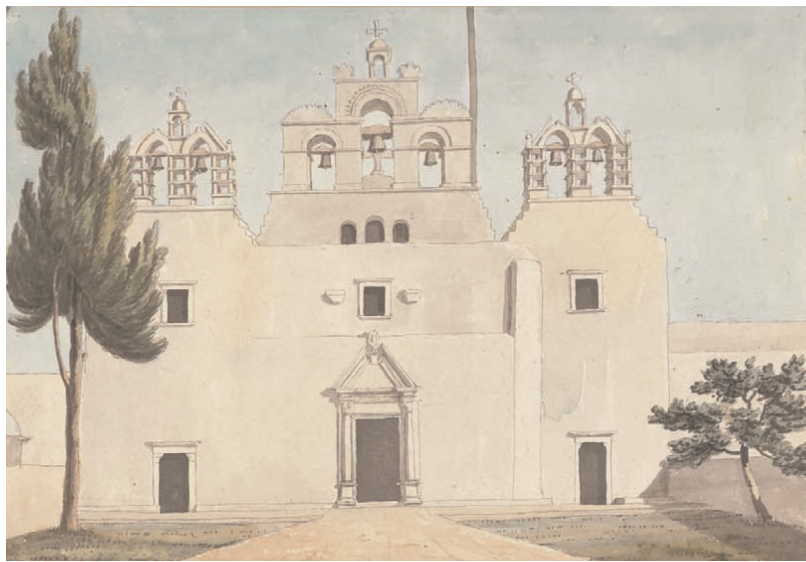 Willey Reveley , The Church of the Panagia, virgin, or Catapoliani [Ekatontapiliani] at the Gate of Paros drawn July 1785,  pen and ink and watercolour, Yale Center for British Art, Paul Mellon Collection