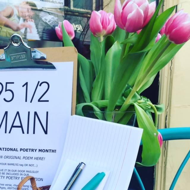 The 95 1/2 Main Sidewalk Storefront Poetry Writing Station is waiting for you!