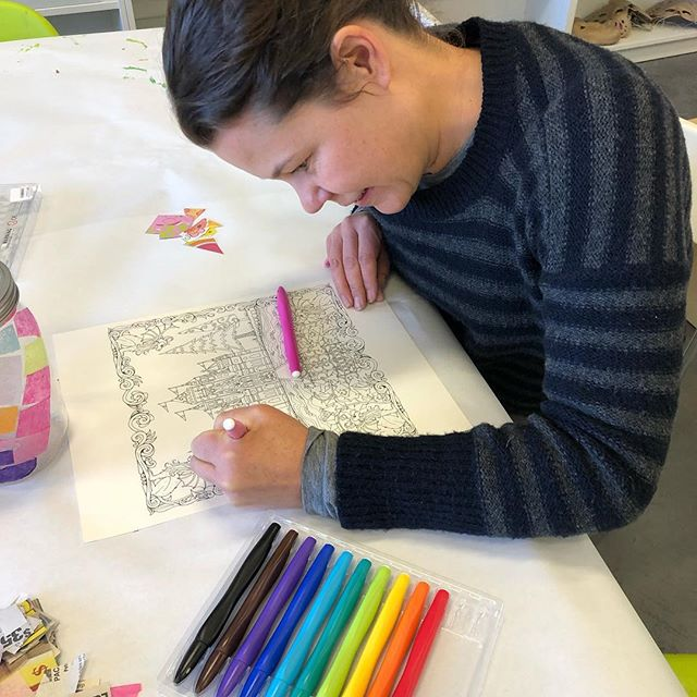 Peacefully coloring at Tahoe Modern Makers