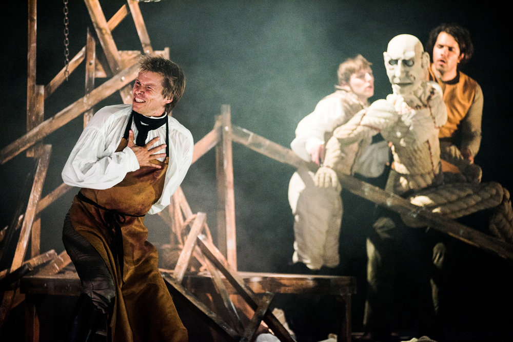 "Frankenstein  – Blackeyed Theatre ""Ben Warwick as Victor Frankenstein is a sensation. Arriving disheveled and broken he tells his tale as a warning. We see his ambition, his thirst for knowledge, his moment of creation. His eyes flash with excitement and therein lies one of Shelley's greatest questions – is Frankenstein a genius, or a maniac?"""