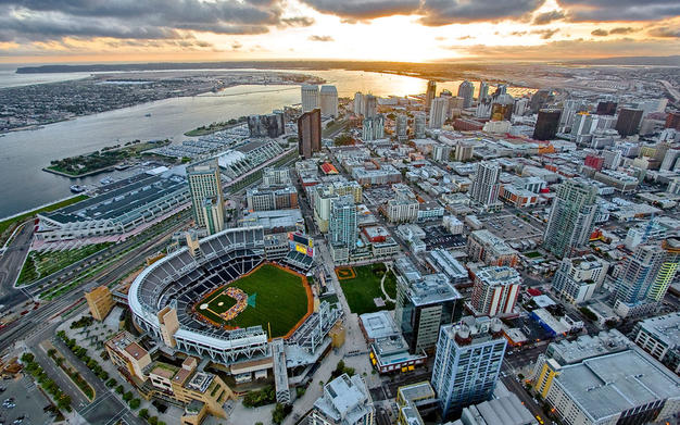 San Diego aerial view, downtown, Petco Park