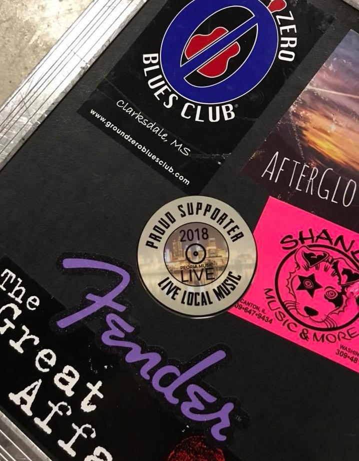 It's exciting to see the stickers popping up in different places... especially on cases and cars of musicians I follow! This photo came from Denny Smith of the Great Affairs.