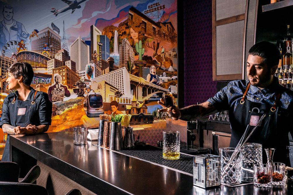 bar and mural