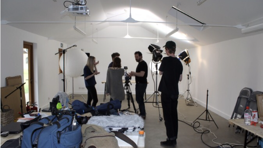 BTS- everything, unless shot outdoors, was filmed in this space. Aside from me, who was in a corner all day, cursing myself for choosing possibly the most time-consuming method of filmmaking besides maybe super 8, rearranging a petal to form an 'S' with tears in my eyes.