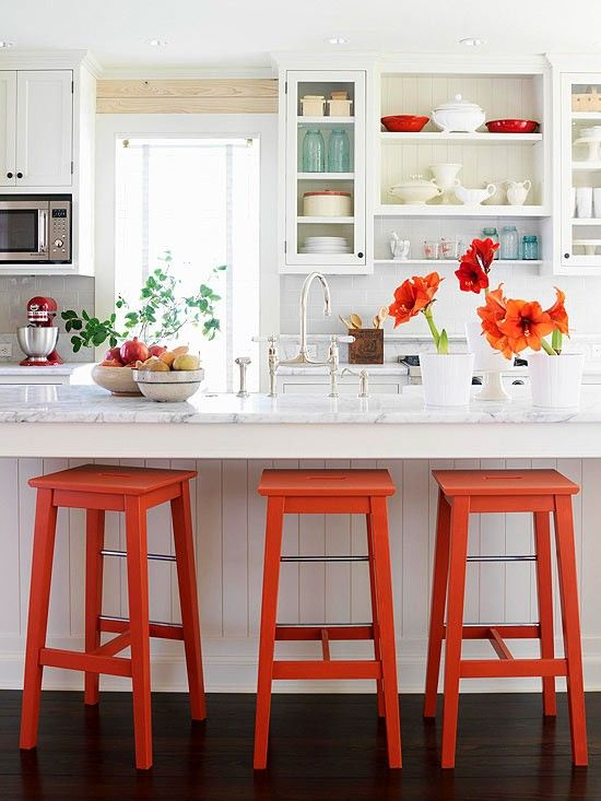 """design & photo:  reference link … 30"""" bar stool at counter height surface"""
