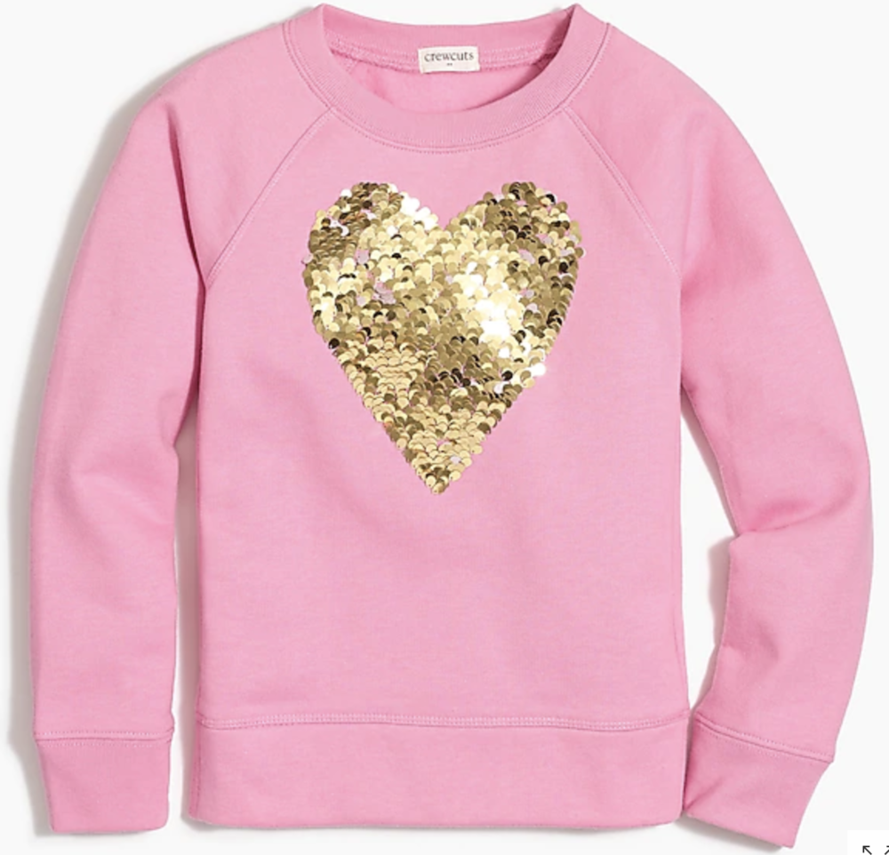 grabbed this glitzy number, among plenty of other items for Maizie on Black Friday. love that this perfect weight sweatshirt can be worn throughout the year and is not holiday specific, but will be a clutch Valentine's Day pull :)  product link