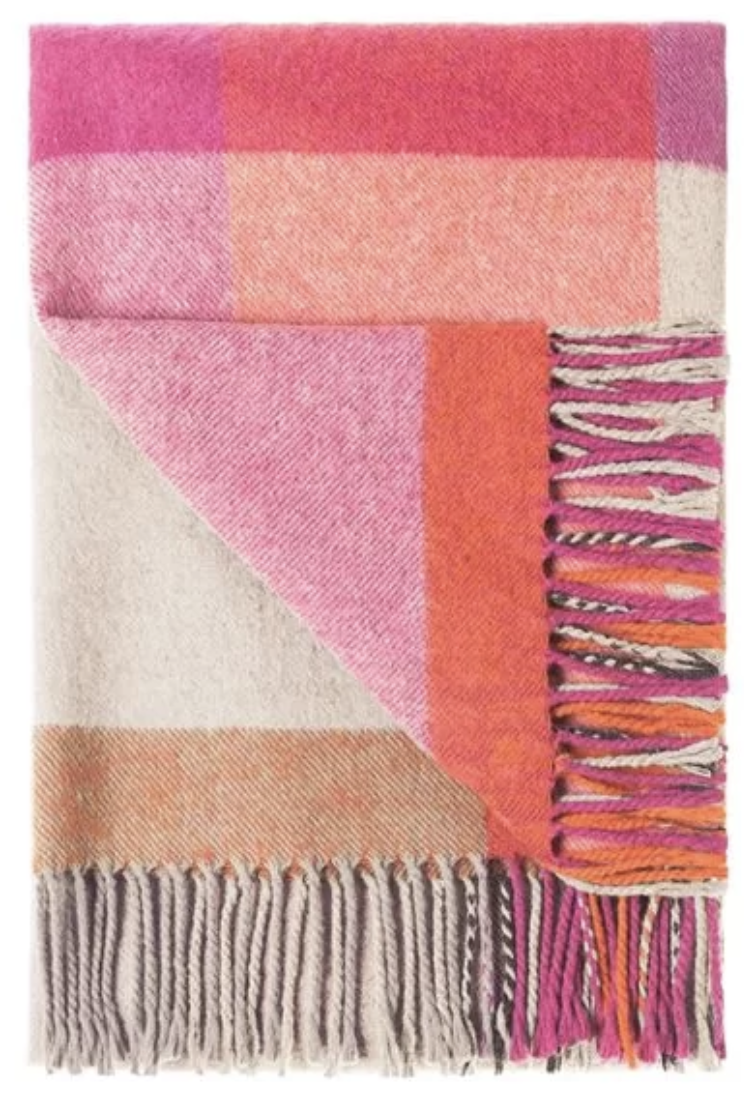 this cozy bold plaid blanket is great for the difficult person to buy for… a great mix of warm neutrals and colorful vibes!  product link