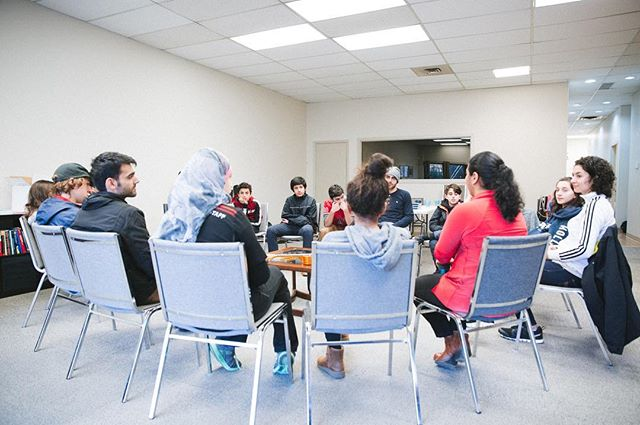 "A group of junior youth gather to consider their contribution to the advancement of their community. ""We were particularly happy to have the participation of four Syrian junior youth who, like their fellow friends, are learning to be protagonists of material, social and spiritual change in Whalley, Surrey where they live."""