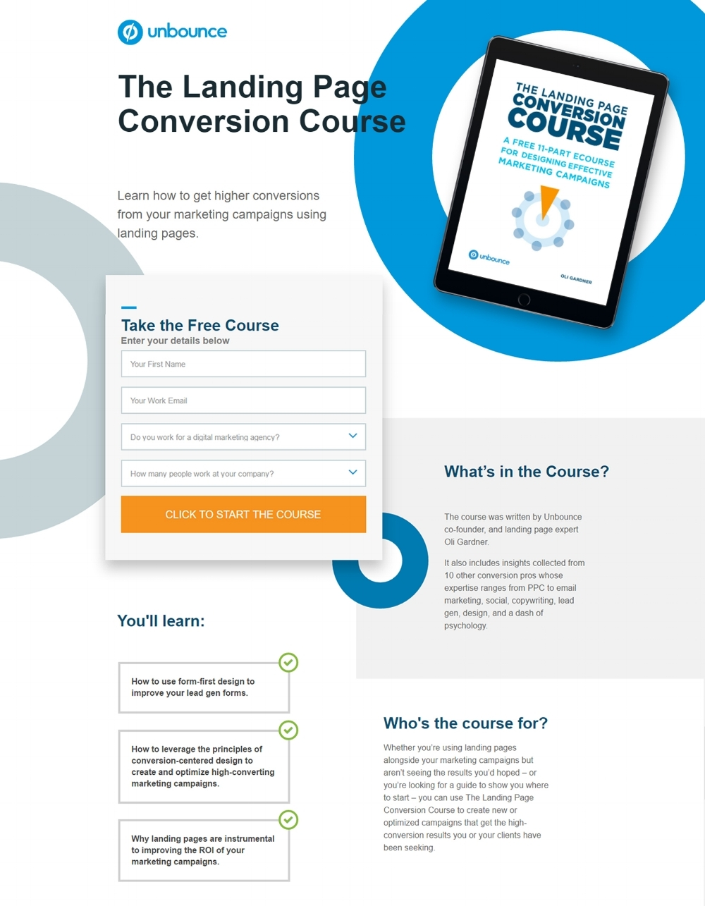 Landing page: effective copywriting in action