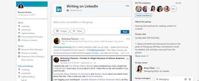 Writing on LinkedIn Group