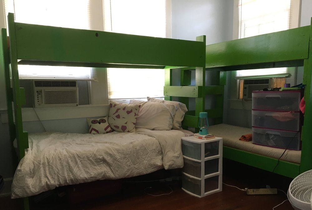 The Facilities  - Our co-ed guesthouse can host up to 38 individuals at a rate of $35 per person per night ($40 in March and April). Our house has 5 bedrooms with multiple bunks in each room, a kitchen, dining room, and 2 full baths.