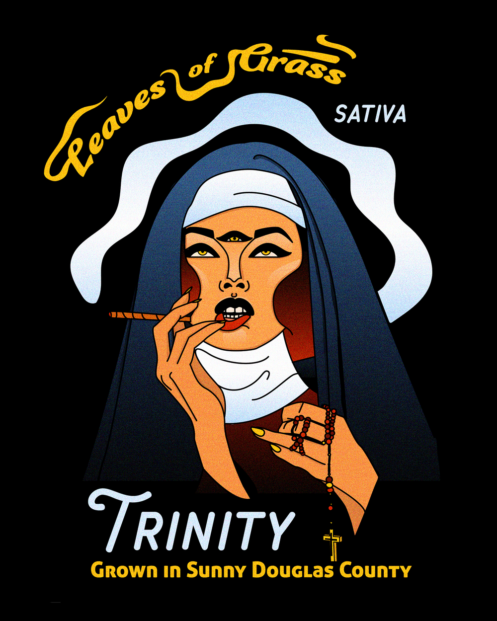 Trinity is a super mind opening strain, so I drew a priestess/nun going cross eyed trying to look at her own third eye. A crown of smoke halos her head.