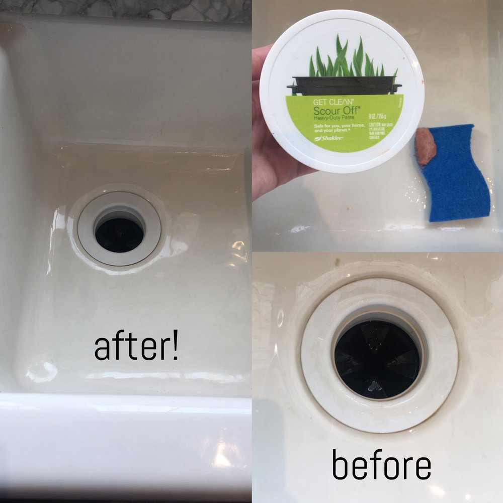 Bon Take A Little Scoop Of The Paste, And Scrub Away! The Grime Comes Off  Easily. Easy Peasy, Right!? Gotta Love A Shiny Clean Sink!!