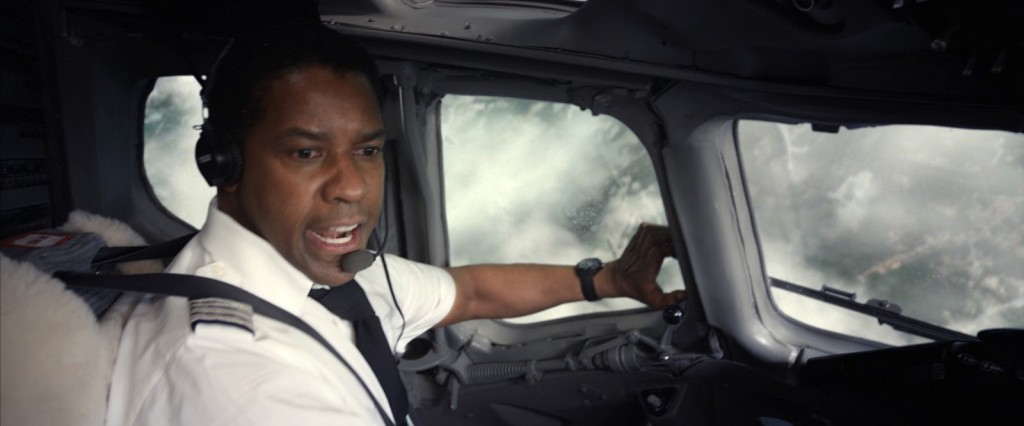 Captain Whip Whitaker (Denzel Washington) attempts to land his plane.