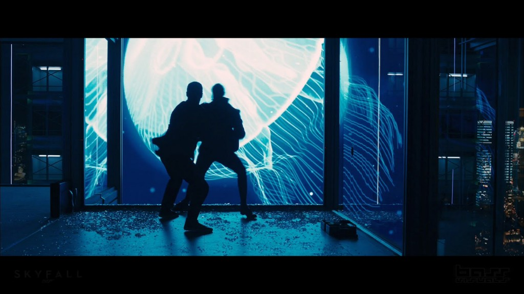 James Bond (Daniel Craig) does battle in a Shanghai skyscraper.