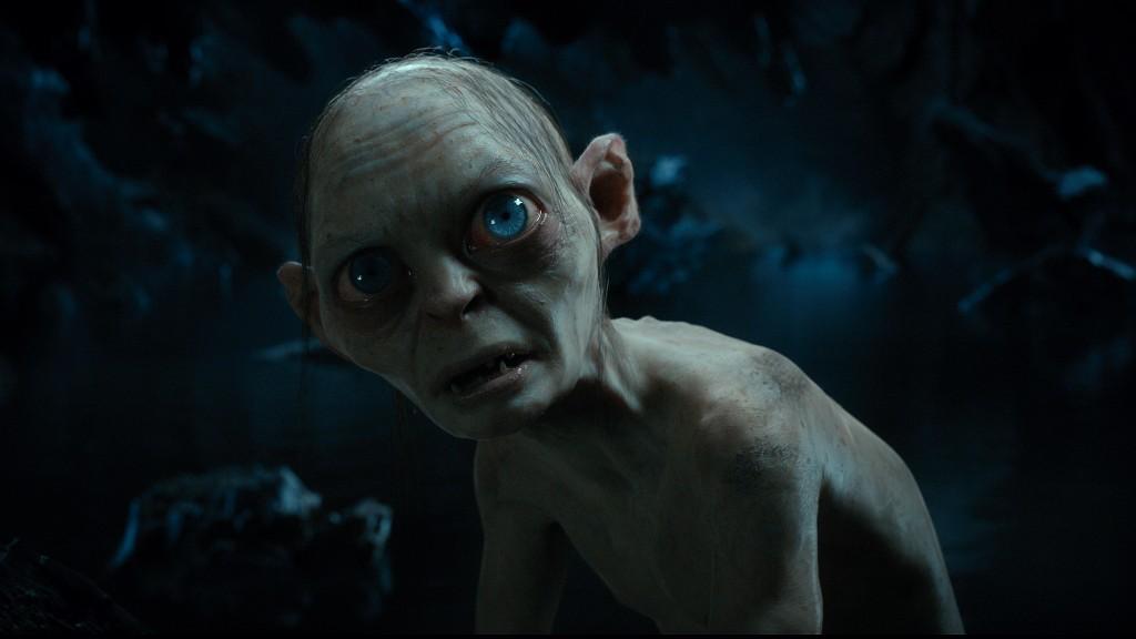 Gollum (Andy Serkis) hungrily anticipates eating Bilbo Baggins.