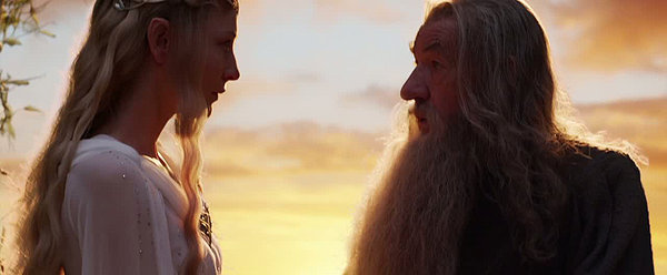 Galadriel (Cate Blanchett) and Gandalf (Ian McKellan) discuss the fate of Middle-Earth in Rivendell.