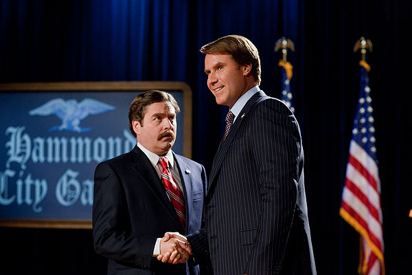 Marty Huggins (Zach Galifianakis) and Cam Brady (Will Ferrell) face off on the campaign trail.