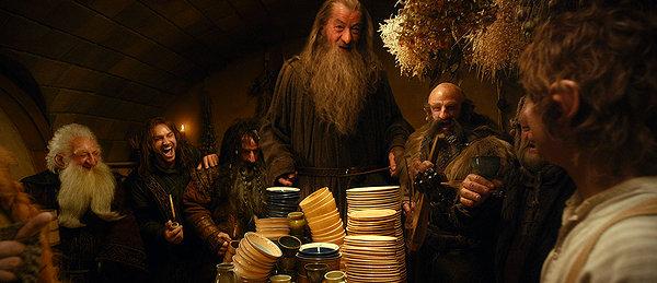Bilbo Baggins (Martin Freeman), Gandalf (Ian McKellan) and a company of dwarves.