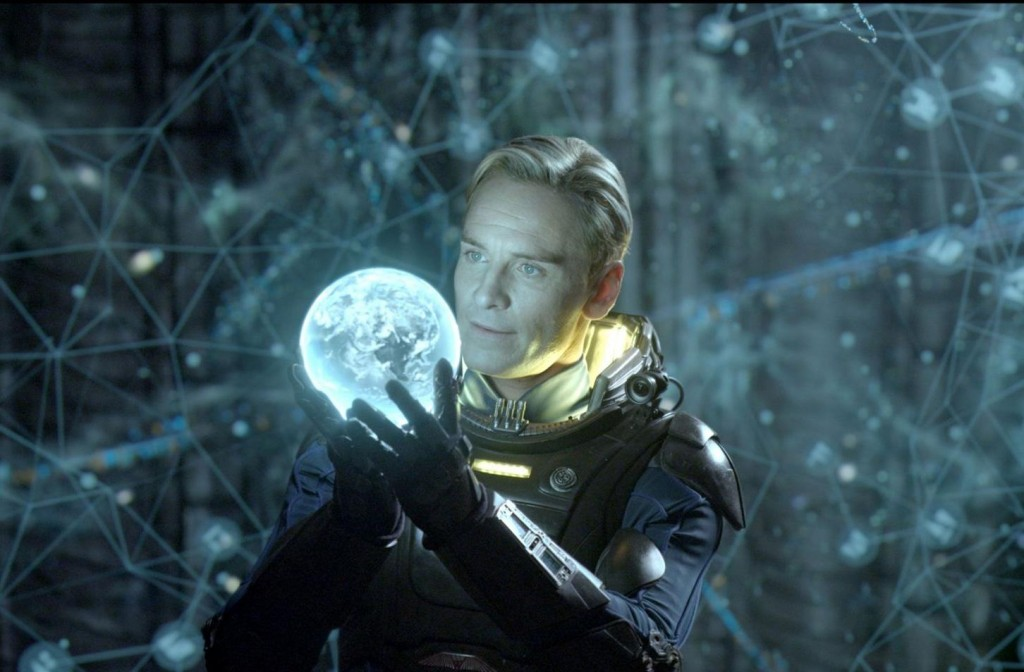 David (Michael Fassbender) examines the star-map in the Engineers' navigation room.