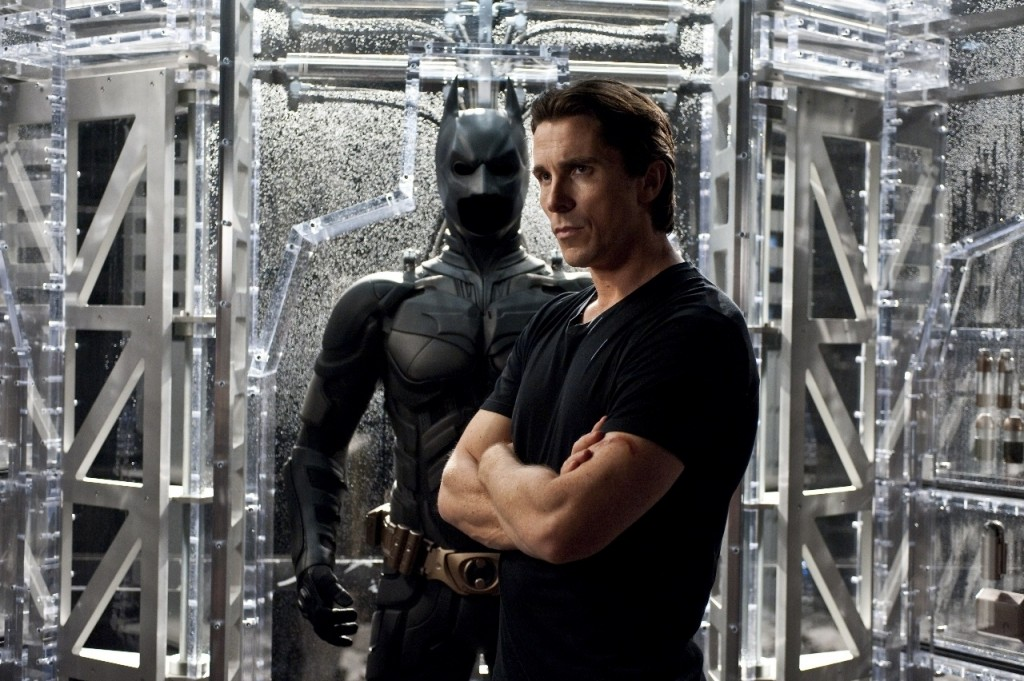 Christian Bale as Bruce Wayne dons the mantle of the Batman one last time.