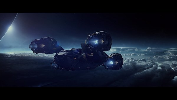 The Prometheus begins its descent into the atmosphere of LV-223