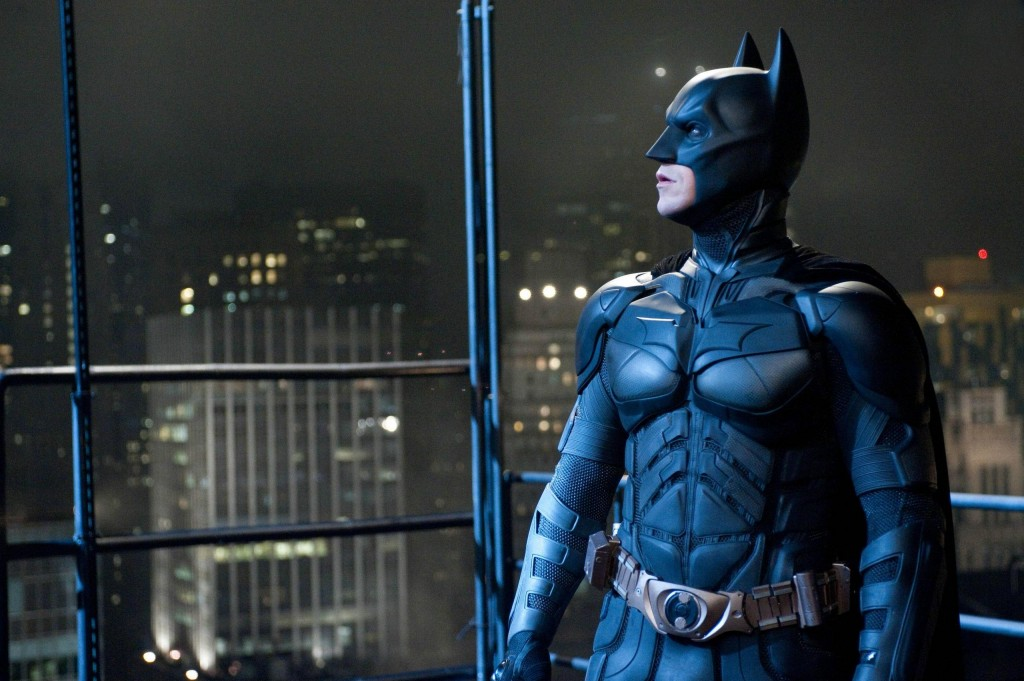 Batman (Christian Bale) overlooks Gotham City.