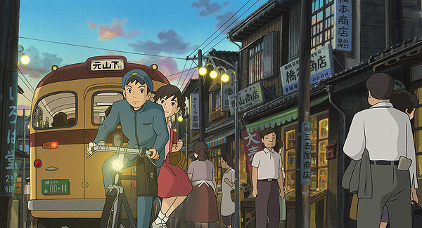Umi and Shun (Voice of Anton Yelchin) ride through 60s Yokohama.