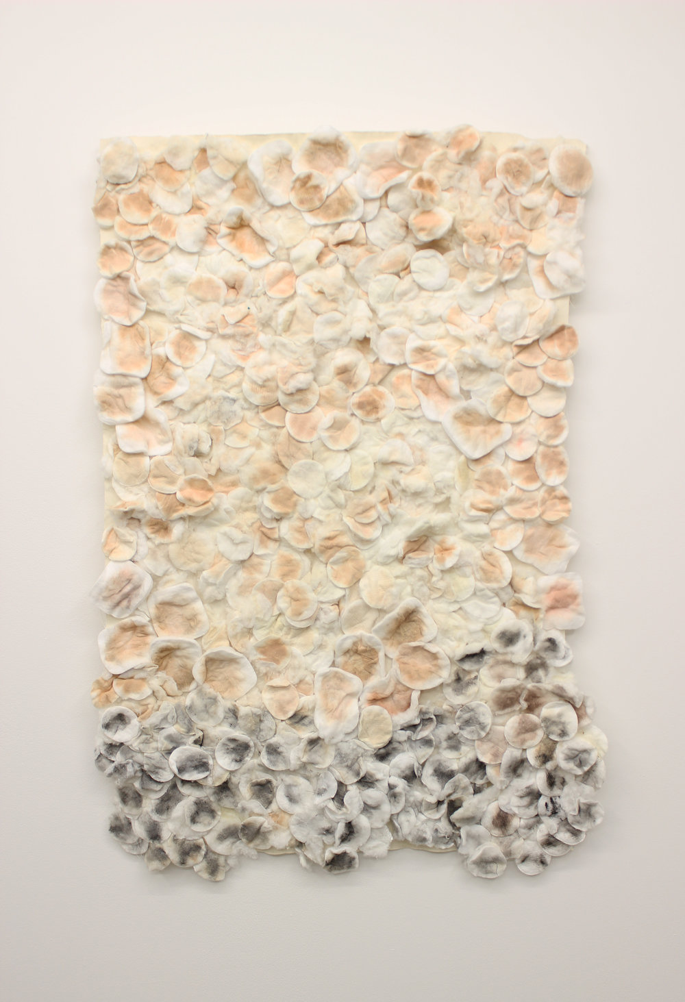 Accumulating, 2018  Canvas, used cotton wool pads, fabric glue
