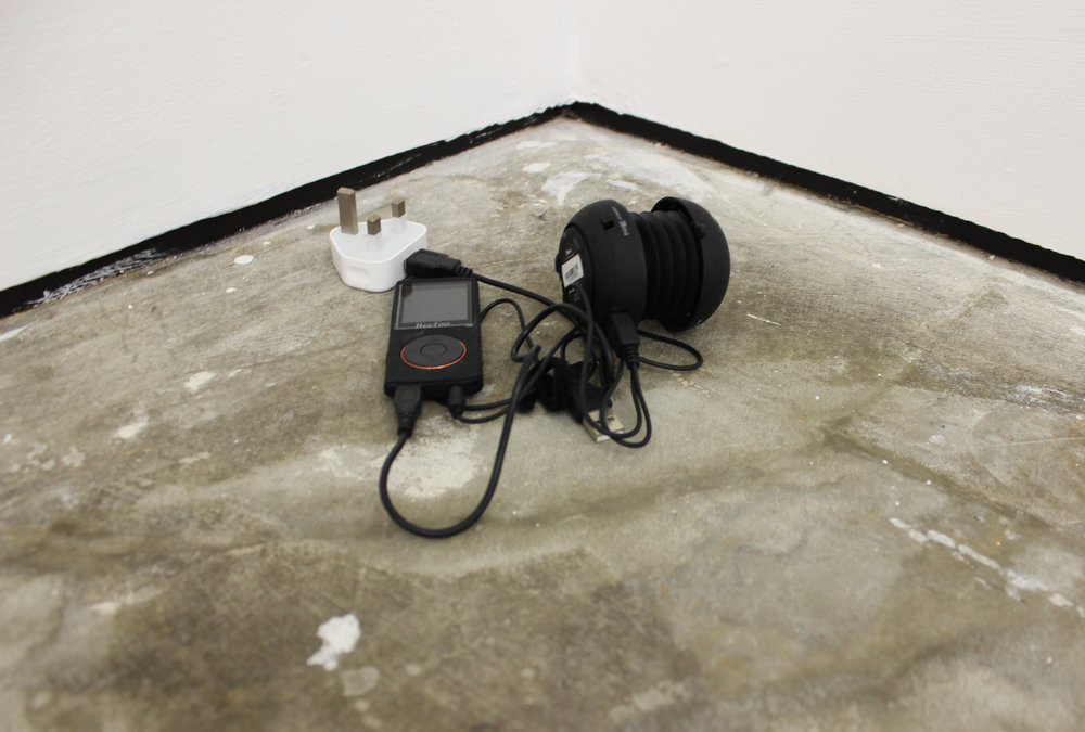 Counting (October 2017),  2018  Two audio works of the artist stating her mood on a scale of 1-10 over the course of two weeks, 28 minutes looped  2 mp3 players, 2 speakers, charging cables