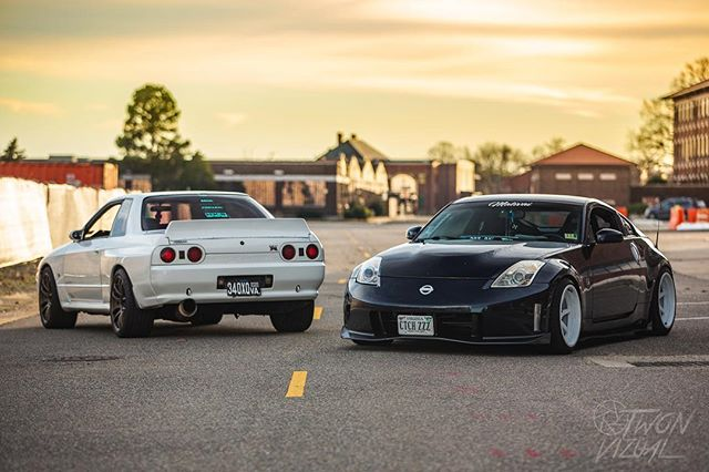 Two different eras of Nissan performance in one photo!  Drop a comment and tell me which car you would choose and why.  __________  Owner: @jfprogression  __________ ‎#نيسان_فتك #racing #نيسان #stance #drift #jdmgram #nissan #nismo #nissangtr #jdm #gtr #cars #350z #carporn #nissannation #skyline #nissanlovers #nissan350z #nissanskyline #nissanusa #370z #r35 #nissanaltima #turbo #nissan_patrol #nissanz #zociety #nissansilvia #nissan_patrol_lovers #nissan370z
