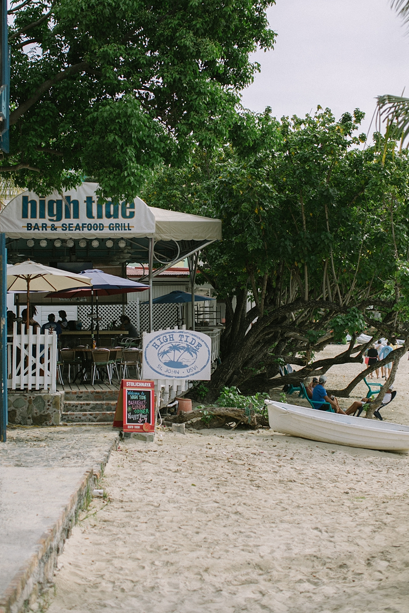 High Tide Bar & Seafood Grill is the best spot to get a drink and watch the sunset on Cruz Bay.